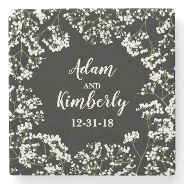 Bride Themed Babys Breath Personalized Wedding Date on Black Stone Coaster