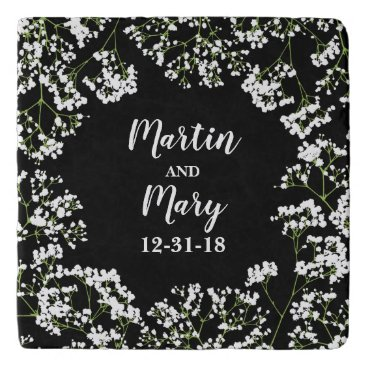 Bride Themed Babys Breath Personalized Wedding Date on Black Trivet