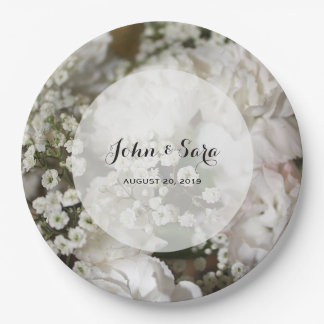 Baby's Breath Photo, Personalized Wedding Paper Plate