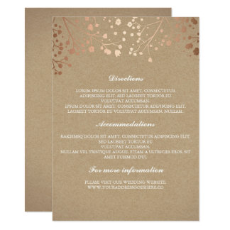 Baby's Breath Rose Gold and Brown Wedding Details Card