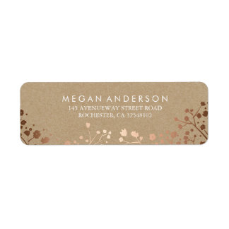 Baby's Breath Rose Gold and Kraft Wedding Label