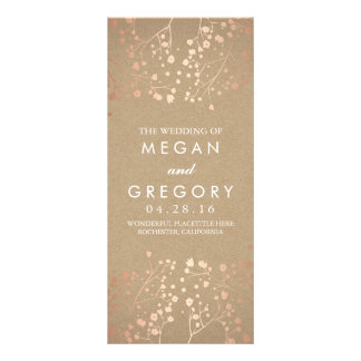 Baby's Breath Rose Gold and Kraft Wedding Programs