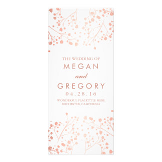 Baby's Breath Rose Gold and White Wedding Programs