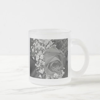 Baby's Breath & Rose - Gray 10 Oz Frosted Glass Coffee Mug