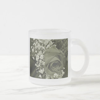 Baby's Breath & Rose - Olive Frosted Glass Coffee Mug
