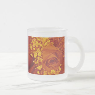 Baby's Breath & Rose - Orange 10 Oz Frosted Glass Coffee Mug