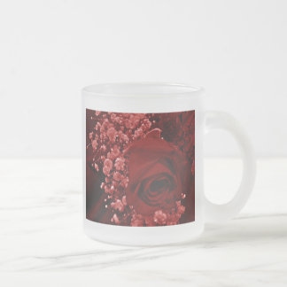 Baby's Breath & Rose - Red 10 Oz Frosted Glass Coffee Mug