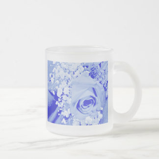 Baby's Breath & Rose - Soft Blue 10 Oz Frosted Glass Coffee Mug
