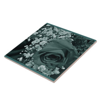 Baby's Breath & Rose - Teal Ceramic Tile