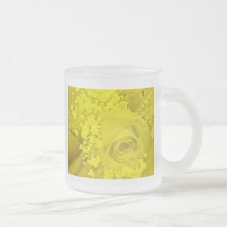 Baby's Breath & Rose - Yellow 10 Oz Frosted Glass Coffee Mug