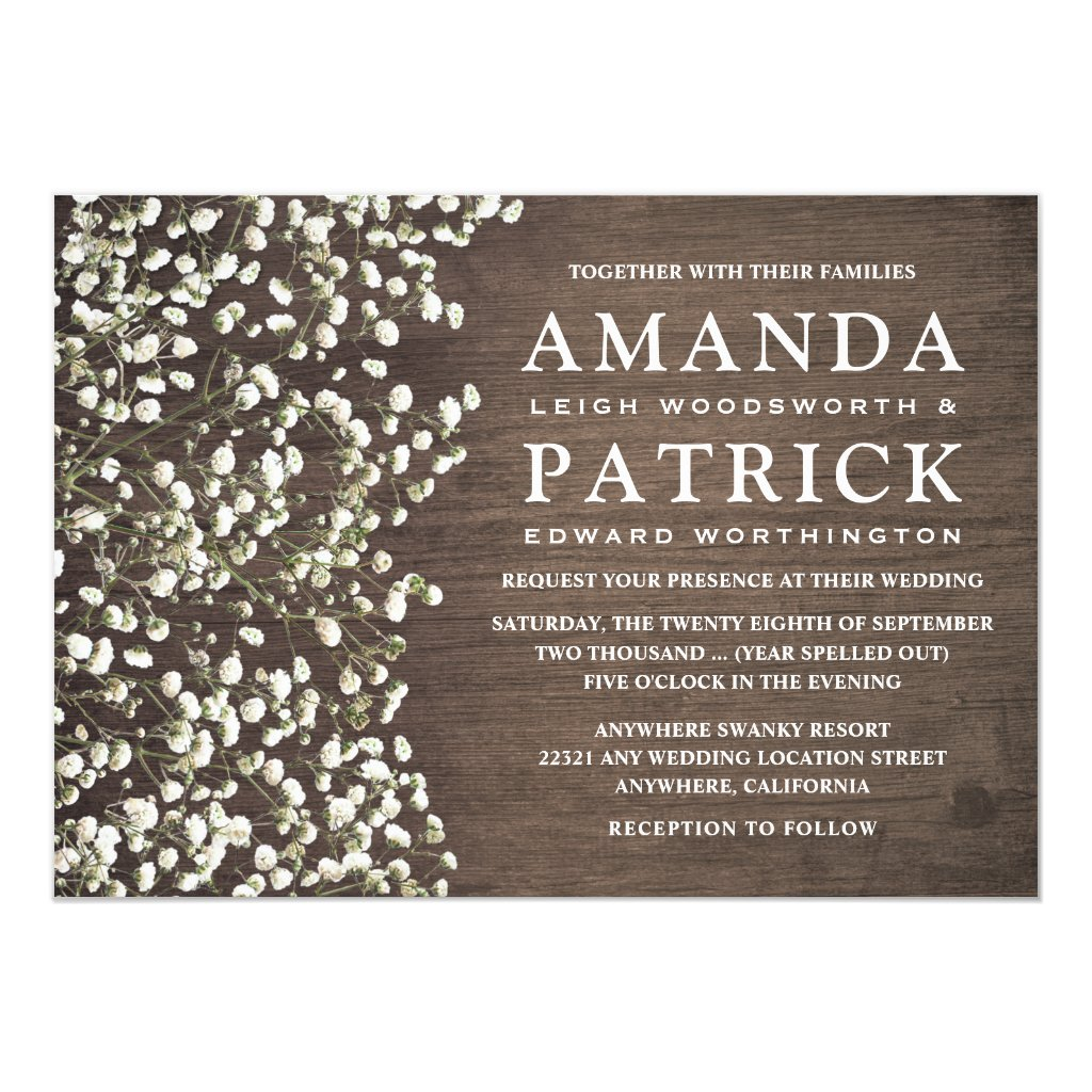 Baby's Breath Rustic Barn Wood Wedding Invitations