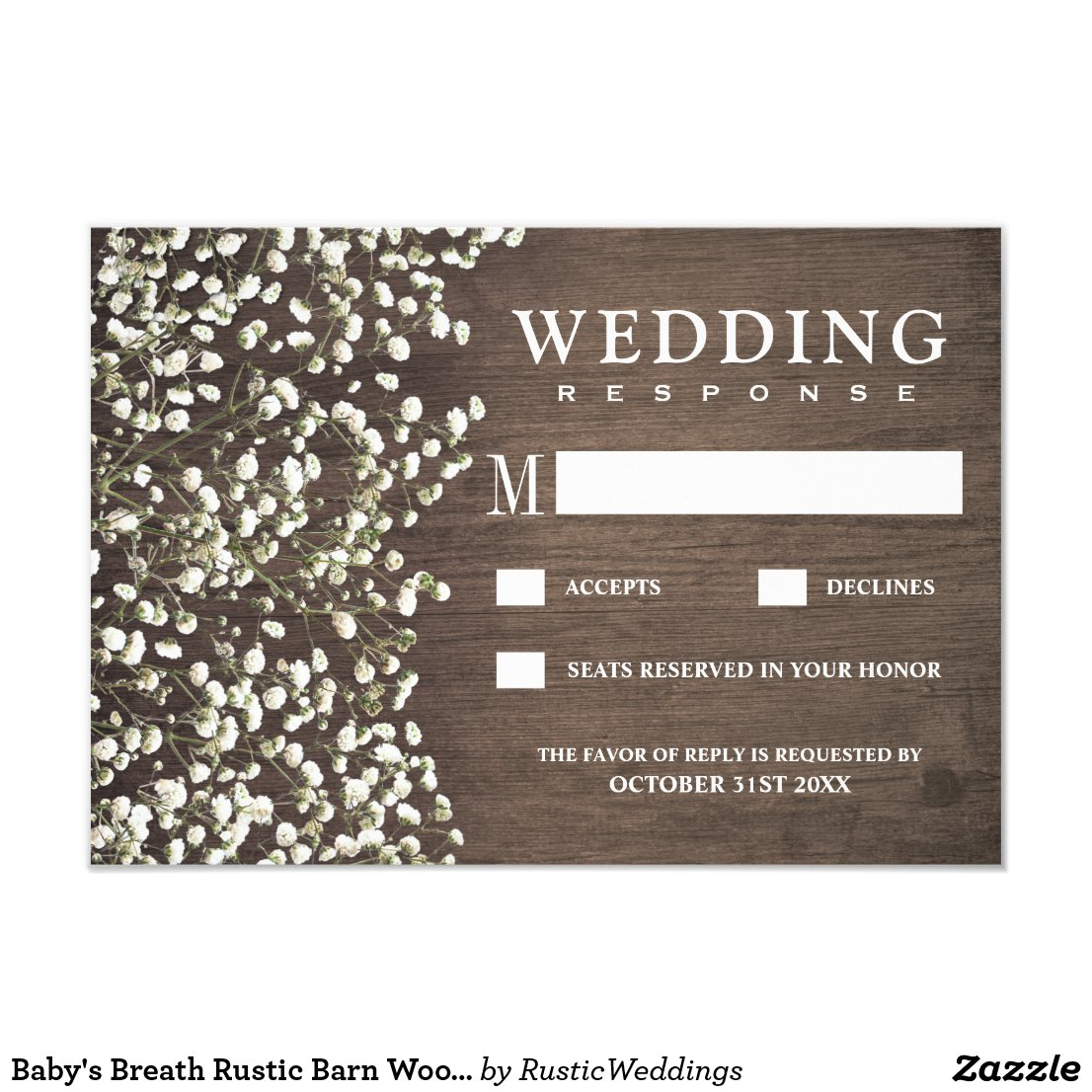 Baby's Breath Rustic Barn Wood Wedding RSVP Cards