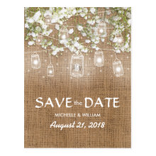 Baby's Breath Rustic Burlap Save the Date
