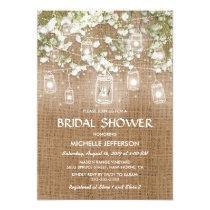 Baby's Breath Rustic Burlap Wedding Bridal Shower Invitation