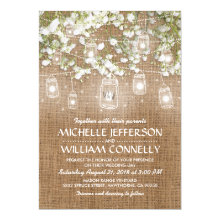 Baby's Breath Rustic Burlap Wedding Invitations