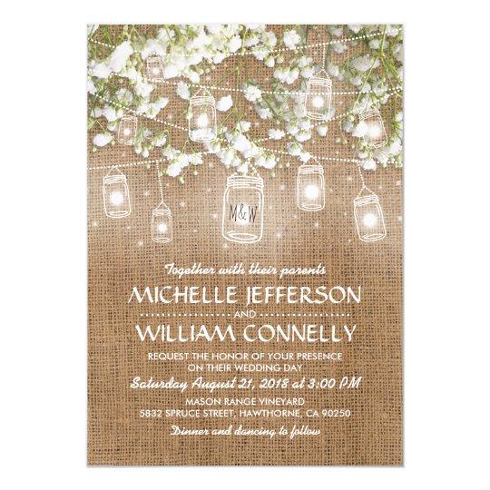 Www Zazzle Com Wedding Invitations: Baby's Breath Rustic Burlap Wedding Invitation