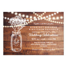Rustic Country Baby's Breath Jar Wedding Invitations