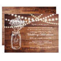 Baby's Breath Rustic Country | Mason Jar Wedding Invitation