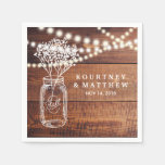 Baby's Breath Rustic Country | Mason Jar Wedding Napkin at Zazzle