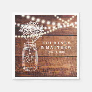 BABY'S BREATH RUSTIC COUNTRY | MASON JAR WEDDING NAPKIN