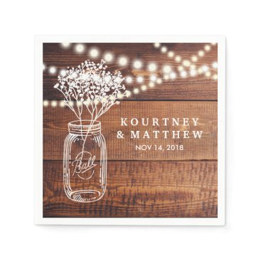 special_stationery BABY'S BREATH RUSTIC COUNTRY | MASON JAR WEDDING NAPKIN