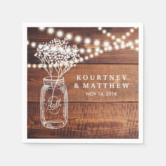 Rustic Wedding Napkins: Baby's Breath Rustic Country