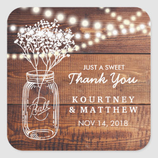 Baby's Breath Rustic Country | Mason Jar Wedding Square Sticker