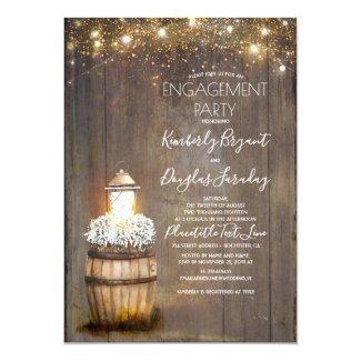 Baby's Breath Rustic Lantern Engagement Party Invitation