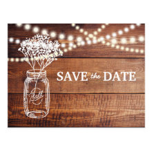 Babys Breath Mason Jar Save the Date Postcards