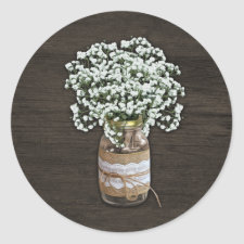 Baby's Breath Rustic Mason Jar Wood Wedding Favors Classic Round Sticker