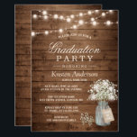 """Baby&#39;s Breath Rustic String Light Graduation Party Card<br><div class=""""desc"""">Baby&#39;s Breath Mason Jar Rustic Wood   String Lights Graduation Party Invitations (1) For further customization, please click the &quot;customize further&quot; link and use our design tool to modify this template. (2) If you prefer Thicker papers / Matte Finish, you may consider to choose the Matte Paper Type. (3) If...</div>"""