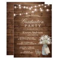 Baby's Breath Rustic String Light Graduation Party Card