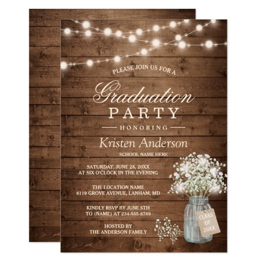 Rustic Graduation Invitations Announcements – Graduation Dinner Invitations