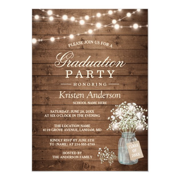 Baby's Breath Rustic String Light Graduation Party Card (back side)