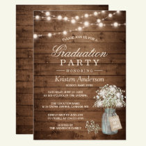 Baby's Breath Rustic String Light Graduation Party Invitation