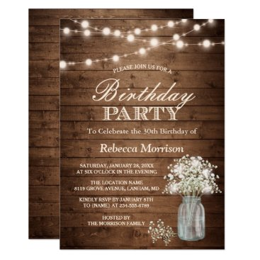 Toddler & Baby themed Baby's Breath Rustic String Lights Birthday Party Card