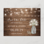 "Baby&#39;s Breath Rustic String Lights Save the Date Announcement Postcard<br><div class=""desc"">This &quot;Baby&#39;s Breath Rustic String Lights Save the Date Postcard&quot; is a great way to announce your wedding date to family and friends! You can easily customize it to be uniquely yours! (1) For further customization, please click the &quot;customize further&quot; link and use our design tool to modify this template....</div>"