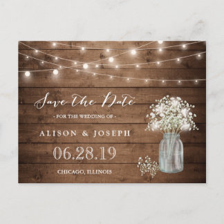 Baby's Breath Rustic String Lights Save the Date Announcement Postcard