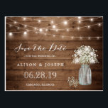 """Baby&#39;s Breath Rustic String Lights Save the Date Postcard<br><div class=""""desc"""">This &quot;Baby&#39;s Breath Rustic String Lights Save the Date Postcard&quot; is a great way to announce your wedding date to family and friends! You can easily customize it to be uniquely yours! (1) For further customization, please click the &quot;Customize&quot; button and use our design tool to modify this template. (2)...</div>"""