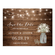 Baby's Breath Rustic String Lights Save The Date Postcard at Zazzle