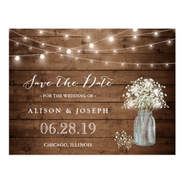 CardHunter Baby's Breath Rustic String Lights Save the Date Postcard