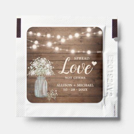 Babys Breath Rustic Wood String Lights Spread Love Hand Sanitizer Packet