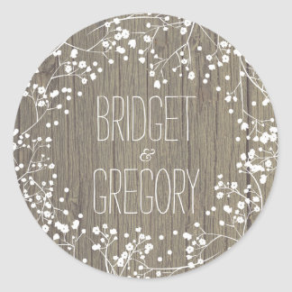 Baby's Breath Rustic Wood Wedding Classic Round Sticker