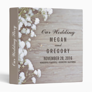 Baby's Breath Rustic Wood Wedding Memories 3 Ring Binder
