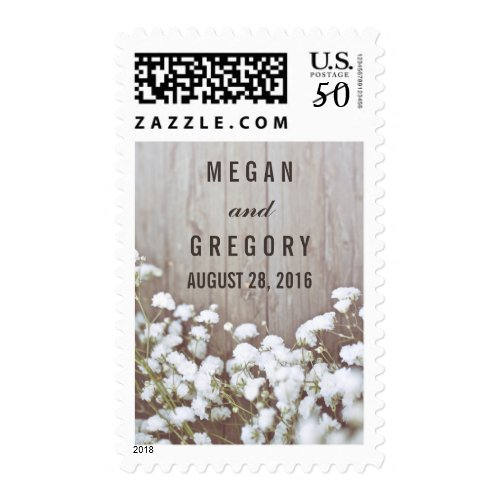 Baby's Breath Rustic Wood Wedding Postage