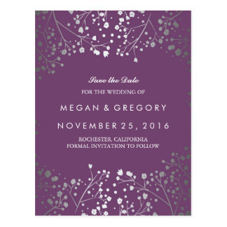 baby's breath silver and amethyst save the date postcard