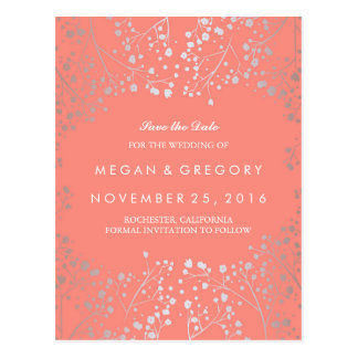 baby's breath silver and coral save the date postcard