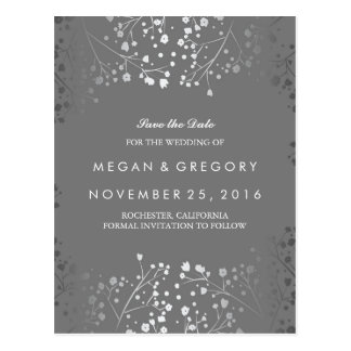 baby's breath silver and grey save the date postcard