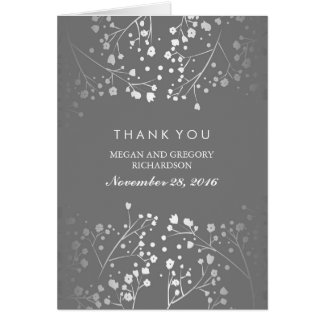 Baby's Breath Silver and Grey Wedding Thank You