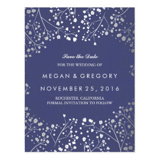 baby's breath silver and navy foil save the date postcard